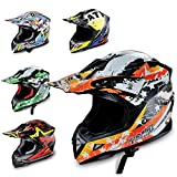 Hecht Motocrosshelm 53915 Motorrad-Helm Enduro ABS Quadhelm (XS (53-54 cm), orange/schwarz/wei)