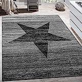 Paco Home Designer Teppich Stern Muster Modern Trendig Kurzflor Meliert In Grau Schwarz,...