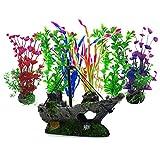 Aisamco knstliche Wasserpflanzen, 6 Stck Aquarium Pflanzen, 1 Stck knstliche Aquarium Dekoration...