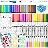 36 Farbe Filzstifte für Bullet Journal Zubehör, Facio Dual Brush Pen Set, Pinselstifte, Malstifte,...