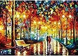 CHengQiSM 1000 Teile Puzzles für Erwachsene, Rainy Night Walk 27,5 x 19,7 Zoll Puzzlespiele...