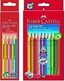 Faber-Castell Bundle 110912 Buntstift Jumbo GRIP 12er Kartonetui; inklusive Spitzer und...