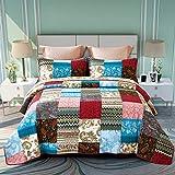 ENCOFT 3 teilig Bettwscheset Tagesdecke 100% Baumwolle Quilt Patchworkdecke Doppelbett Wohnzimmer...