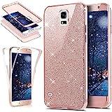 Kompatibel mit Galaxy S5 Hülle,Galaxy S5 Neo Hülle,Full-Body 360 Grad Bling Glänzend Glitzer Klar...