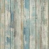 Klebefolie Möbel Selbstklebend Retro Stil Holz Blau 45cmX2m Wasserdicht Möbelfolie Tapeten...