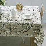 Wyi Tischdecke aus Baumwollleinen rechteckige Weltkarte Tischdecke Spitze staubdicht Tischdecke für...