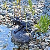 CLGarden Wasserspeier Figur Frosch auf Stein für Gartenteich Brunnenbecken Dekofigur Wasserspiel...