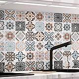 Küchenrückwand Fliesenaufkleber 61 x 500cm Mosaikfliese Klebefolie Fliesen für Küche und Bad...