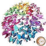 Imbry 72 Stck 3D Schmetterling Aufkleber Wandsticker Wandtattoo Wanddeko fr Wohnung, Raumdekoration...