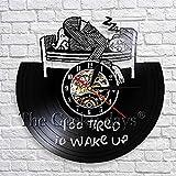 JNZART Zu mde um die Wanduhr zu wecken Personzlity Vinyl Record Clock Wandkunst Dekor 3D Wanduhr fr...