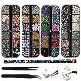 4 Boxen Nail Art Strass Kit Multi Design Zubehör mit 2 Pinzetten Deko Diamanten Kristalle Perlen...