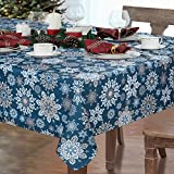 Alishomtll Weihnachten Tischdecke Abwaschbar Schneeflocke Tischtuch 152x305cm Wasserabweisend...