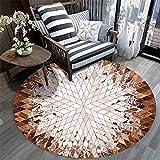 WQ-BBB Teppich Langlebig haarlos Einfach zu verstauen Geometrisches Design rund teppch braun teppic...