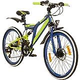 Galano 24 Zoll MTB Fully Adrenalin DS Mountainbike STVZO Jugendfahrrad, Farbe:dunkelblau