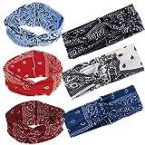 SERWOO 6 Stück Stirnband Damen Kopfband Haarband Turban Elastische Weiche Stirnband Blume Muster...