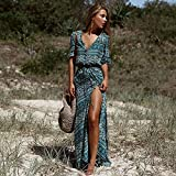 DAIDAILYQ Bohemia V-Ausschnitt Dreiviertel-Ärmel Blumendruck Ethnic Summer Beach Dress Split Langes...