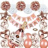 Roségold-Partydekorationen Alles Gute zum Geburtstag-Konfetti-Luftballons mit Banner, riesigen...