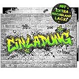VULAVA 12x EINLADUNGSKARTEN für Party und Kindergeburtstag - die Karten im frech bunten Graffiti...