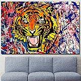 ganlanshu Bunter Tiger Wanddekoration Bilderrahmen auf Leinwand fr Wohnzimmer Hauptdekoration...