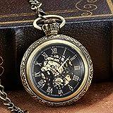 Taschen-Uhr Personalisierte Bronze Mechanische Winding Uhr ohne Batterie Uhr Mnner Sliver rmischen...