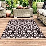 Carpet City Outdoor Flachgewebe Teppich Terrasse Balkon, Modern mit Geometrischen Muster in Grau...