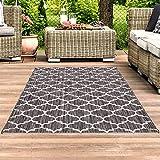 Outdoor-Teppich Flachgewebe Teppich Terrasse Balkon, Modern mit Geometrischen Muster in Grau für...