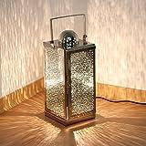 albena shop 75-10 orientalische Lampe Edelstahl Laterne mit Stromanschluss (Asra Gr.L 15,5 x 15,5 x...
