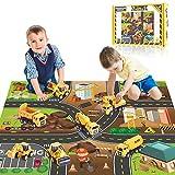 Yetech Klein baufahrzeuge Spielzeug,7 in 1 Spielzeugauto Bagger LKW ,Pull Back Autos Spielzeug...