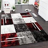 Paco Home Designer Teppich Modern mit Konturenschnitt Karo Muster Grau Schwarz Rot, Grsse:200x290 cm