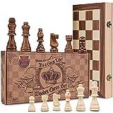 AGREATLIFE Königliches Schachspiel aus Holz handgefertigt - Hochwertiges Schachbrett aus Echtholz...