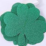 Amosfun 5Pcs Glitter Shamrock Banner St. Patricks Day Zubehör Grüner Klee Dekoration Irische...