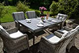 bomey Rattan Lounge Set I Gartenmöbel Set Como-XL 7-Teilig I Essgarnitur mit Polstern I Sitzgruppe...