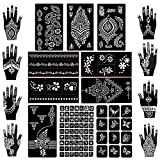 Koogel Henna Tattoo, 18 Blatt Henna Schablonen Glitter Tattoo Air Brush Tattoo für Frauen Mädchen...