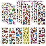 Linkbro 3D Aufkleber für Kinder Mädchen, 25 Verschiedene Blätter 600+ Geschwollen Stickers mit...