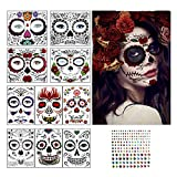 Herefun 10Stk Halloween Gesicht Temporäre Tattoos +1StkEdelsteinaufkleber, Tag der Toten...