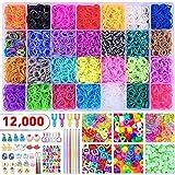 badiJum 12000+ bunte Gummi-Webstuhlbänder, 28 verschiedene Farben, Mega-Nachfüllset,...