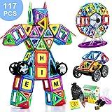 COOLJOY Magnetische Bausteine, 117 Stück Magnet Baustein, Pädagogische Bauklötze Spielzeug für...