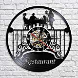 GVC Restaurant Zeichen Dekor Wanduhr Modernes Design Esszimmer Schallplatte Vintage Zeituhr Uhr...
