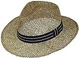 Harrys-Collection Strohhut aus Seegras mittlere Größe mit blauem Band, Kopfgröße:59,...
