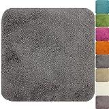 PROHEIM WC-Vorleger Lasalle ohne Ausschnitt 50 x 50 cm grau - Rutschfester Badteppich - Weicher und...