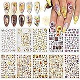 EBANKU 10 Blätter Nagelsticker Herbst Ahornblätter Nail Art Sticker Thanksgiving Nagelaufkleber...