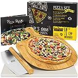 GARCON Pizzastein für Backofen und Gasgrill - 4er Set - [1x] Pizza Stone, [1x] Pizzaschieber, [1x]...