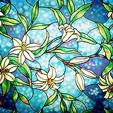 Lifetree Fensterfolie Glasmalerei Dekofolie Privatsphäre Sichtschutzfolie Statisch haftenden...