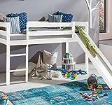 Kinderbett Hochbett mit rutsche Leiter Hochbett Spielbett Kiefer Massiv weiss oder Unbehandelt...