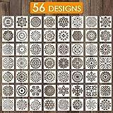 Outivity 56 Stück Mandala Schablonen zum Malen auf Holz, Stein, Stoffen,Metall,Möbeln und Wänden...