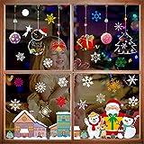 THOWALL Weihnachten Fenstersticker, 2PCS Weihnachtsmann Weihnachten Rentier Aufkleber &...