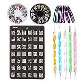 4 in 1 Nägel Design Set: 2 Set Strasssteine + 30 Striping Tapes + 5 Punktierung Kugelschreiber + 1...