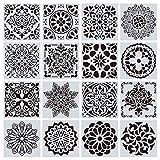 16 Stck Mandala-Schablonen Vorlagen-Set Mandala Dotting Malerei 16pcs Malerei Schablone Mandala Dot...