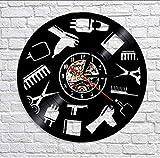 TIANZly Barber Shop Wandschild Silent Quartz Vinyl Schallplattenuhr Eröffnungsfeier Handmade...