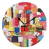 FFY Go Home Kunstwerk, Bunte Ölgemälde Bedruckte Wand-Tischuhr Vintage Home Dekoration Ornament...